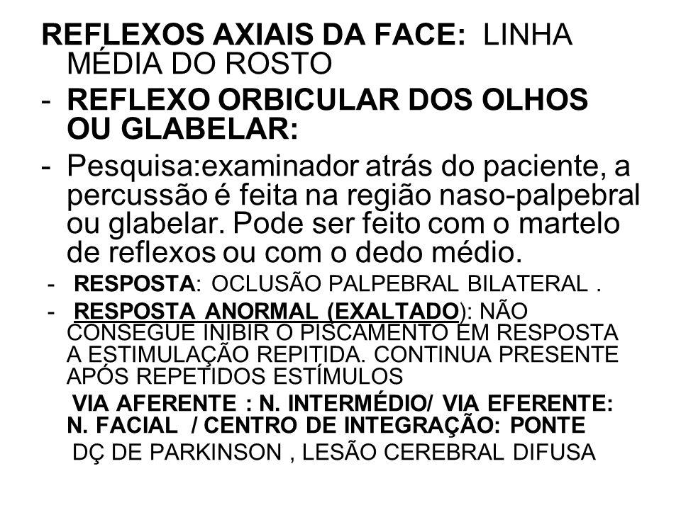 REFLEXOS AXIAIS DA FACE: LINHA MÉDIA DO ROSTO