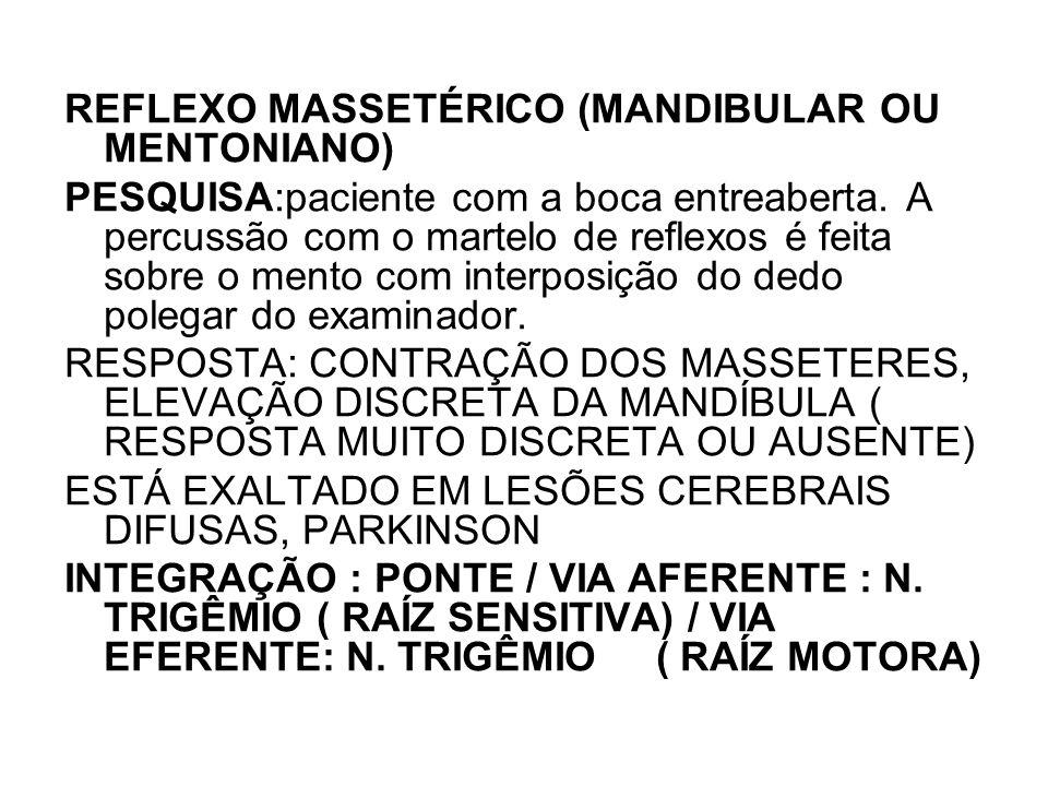 REFLEXO MASSETÉRICO (MANDIBULAR OU MENTONIANO)