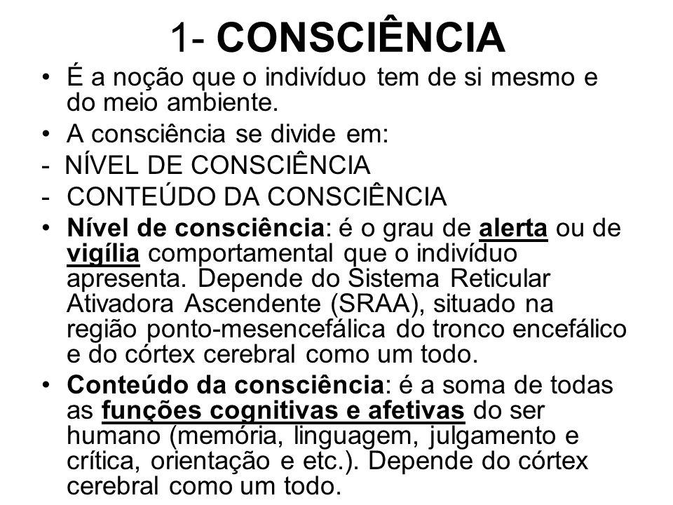 1- CONSCIÊNCIA É a noção que o indivíduo tem de si mesmo e do meio ambiente. A consciência se divide em: