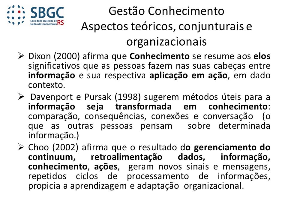 Gestão Conhecimento Aspectos teóricos, conjunturais e organizacionais