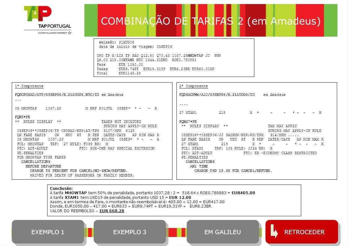 COMBINAÇÃO DE TARIFAS 2 (em Amadeus)