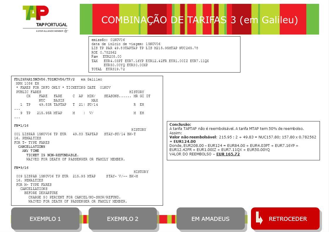 COMBINAÇÃO DE TARIFAS 3 (em Galileu)