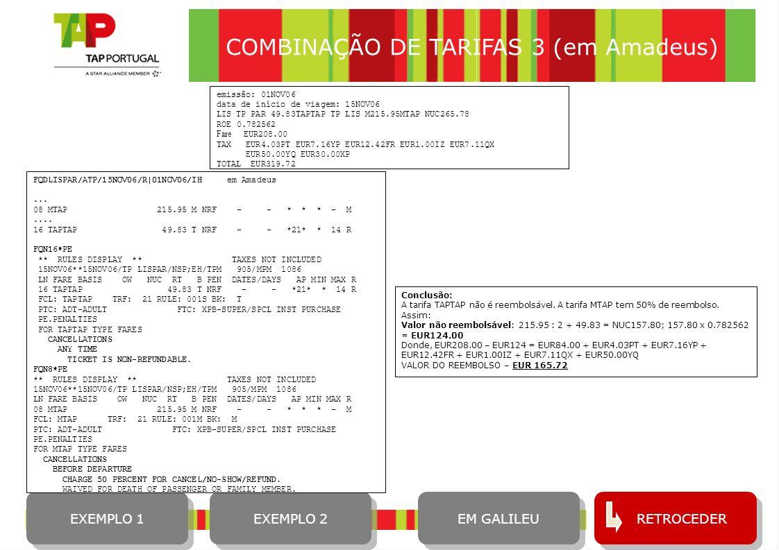 COMBINAÇÃO DE TARIFAS 3 (em Amadeus)