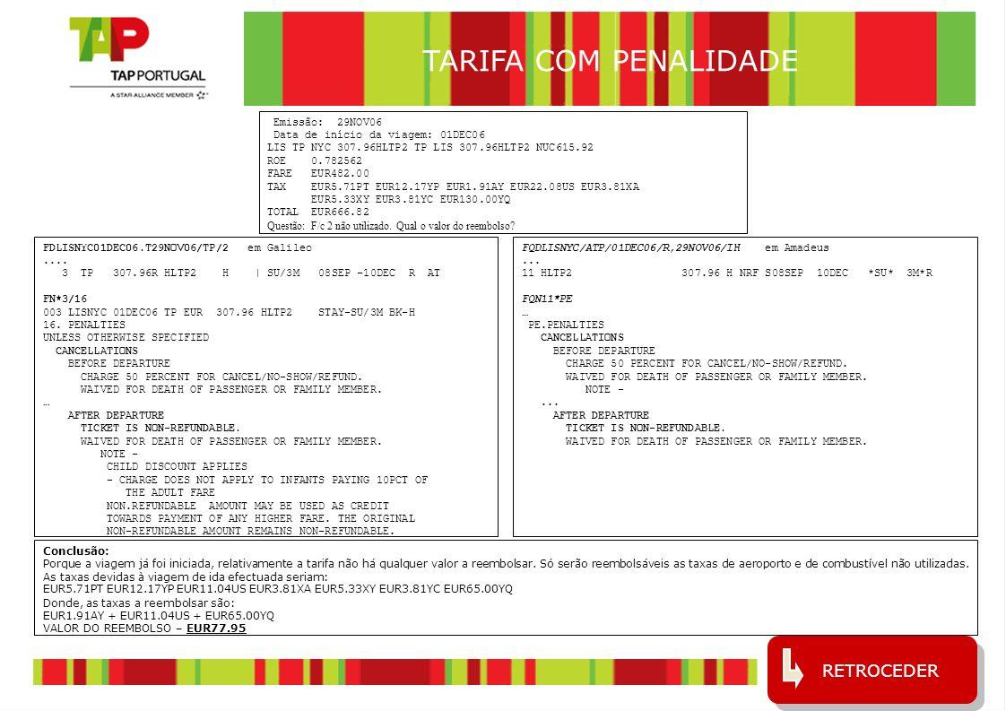 TARIFA COM PENALIDADE RETROCEDER Emissão: 29NOV06