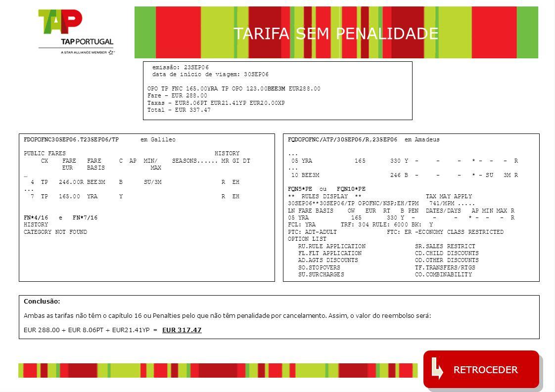 TARIFA SEM PENALIDADE RETROCEDER emissão: 23SEP06
