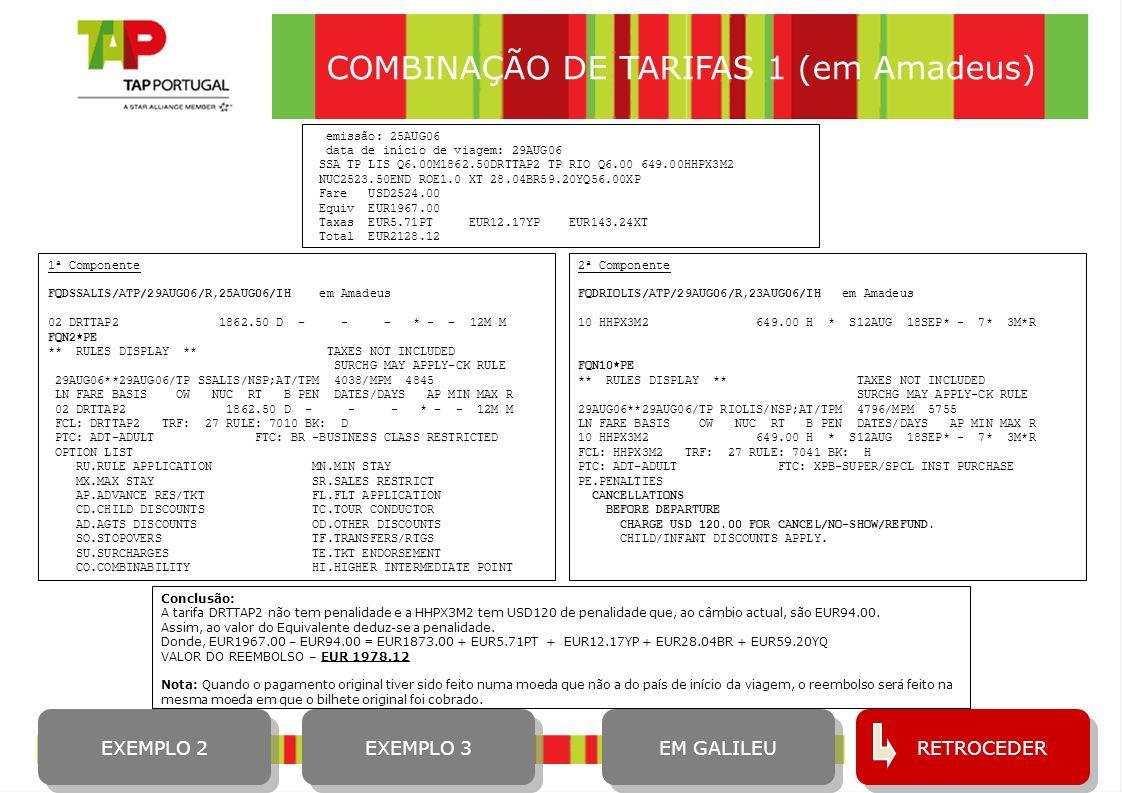 COMBINAÇÃO DE TARIFAS 1 (em Amadeus)