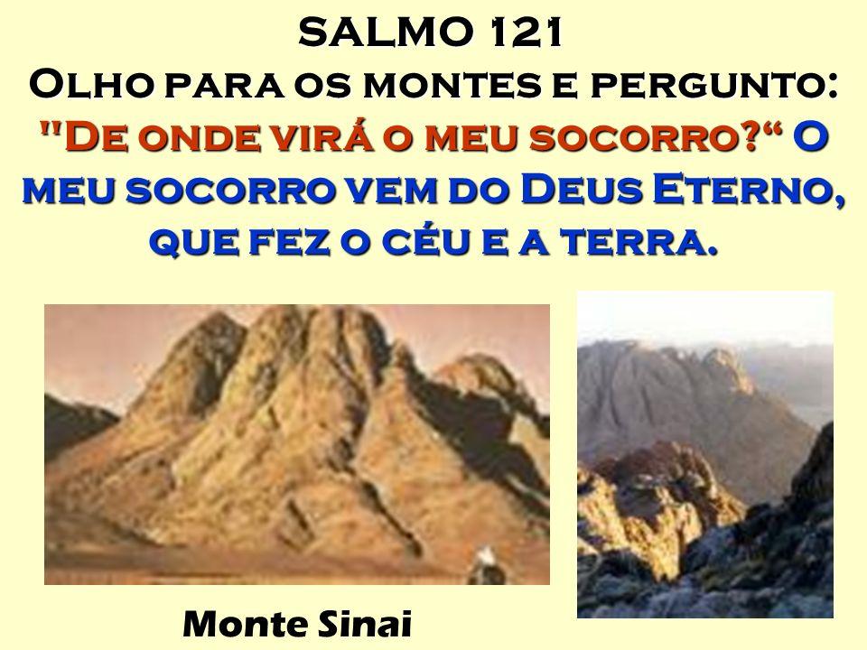 SALMO 121 Olho para os montes e pergunto: De onde virá o meu socorro O meu socorro vem do Deus Eterno, que fez o céu e a terra.