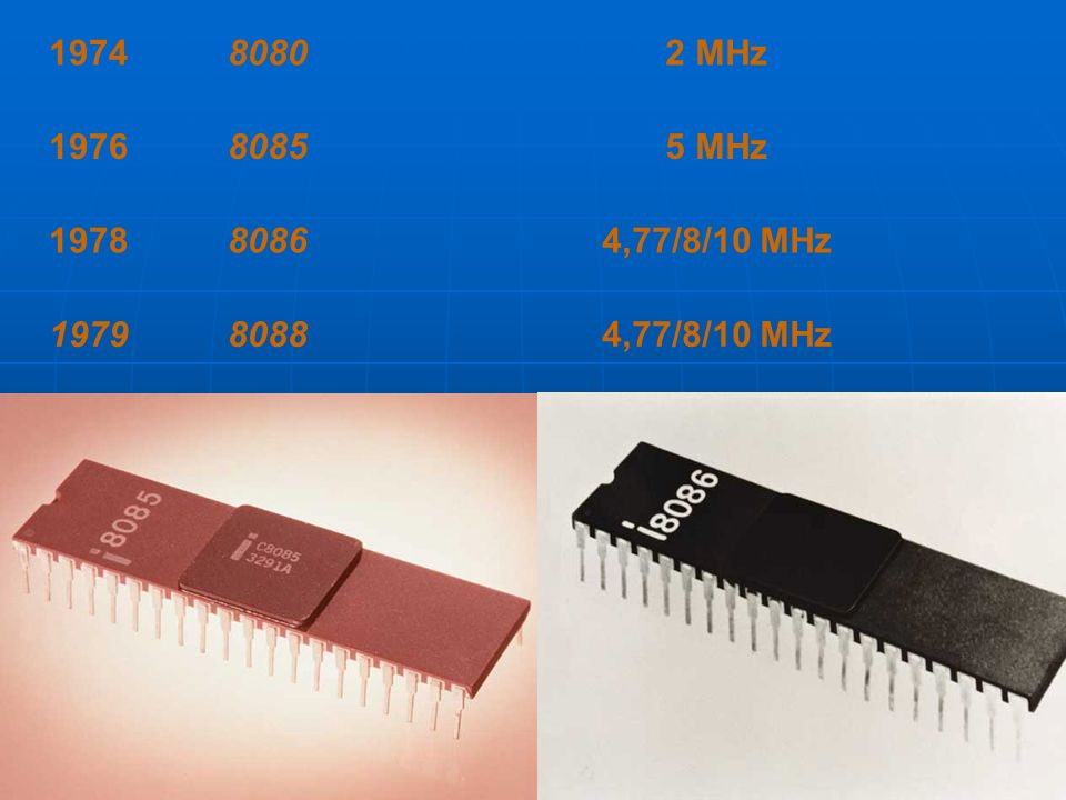 1974 8080 2 MHz 1976 8085 5 MHz 1978 8086 4,77/8/10 MHz 1979 8088