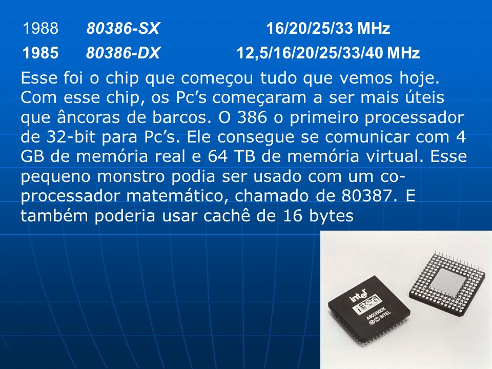 198880386-SX. 16/20/25/33 MHz. 1985. 80386-DX. 12,5/16/20/25/33/40 MHz.