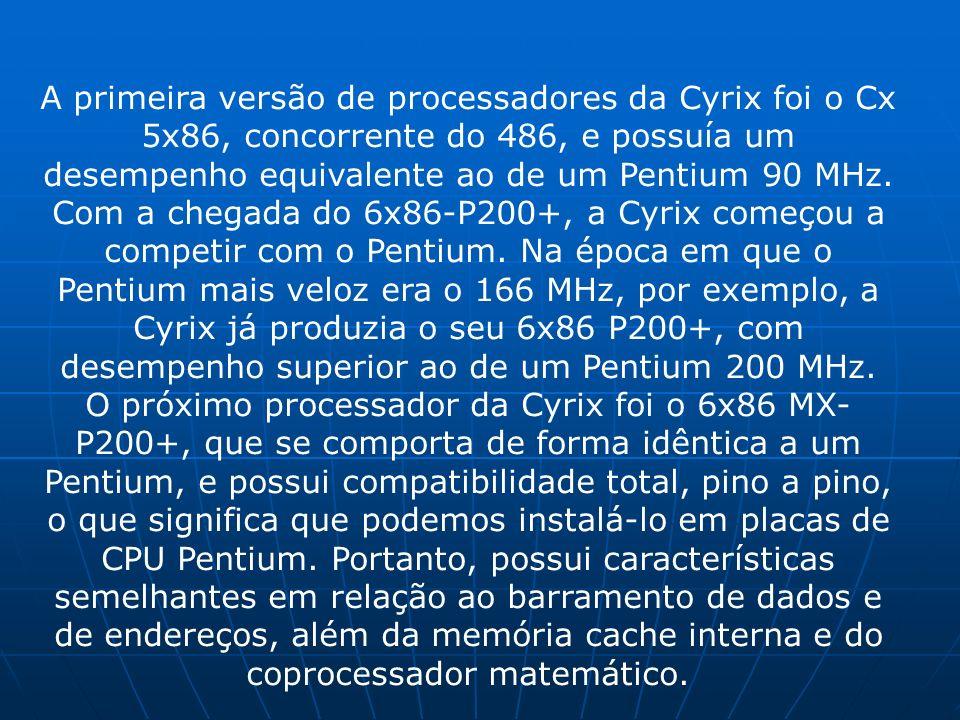 A primeira versão de processadores da Cyrix foi o Cx 5x86, concorrente do 486, e possuía um desempenho equivalente ao de um Pentium 90 MHz. Com a chegada do 6x86-P200+, a Cyrix começou a competir com o Pentium. Na época em que o Pentium mais veloz era o 166 MHz, por exemplo, a Cyrix já produzia o seu 6x86 P200+, com desempenho superior ao de um Pentium 200 MHz.