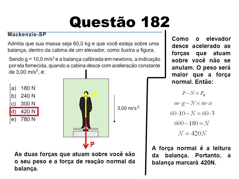 Questão 182 Como o elevador desce acelerado as forças que atuam sobre você não se anulam. O peso será maior que a força normal. Então: