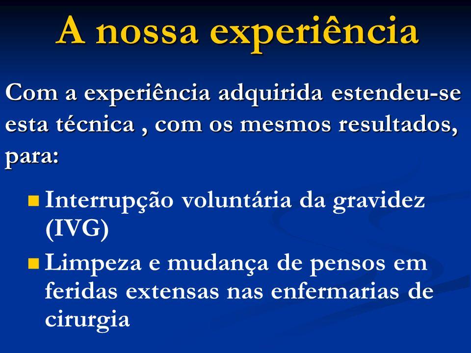 A nossa experiência Com a experiência adquirida estendeu-se esta técnica , com os mesmos resultados, para: