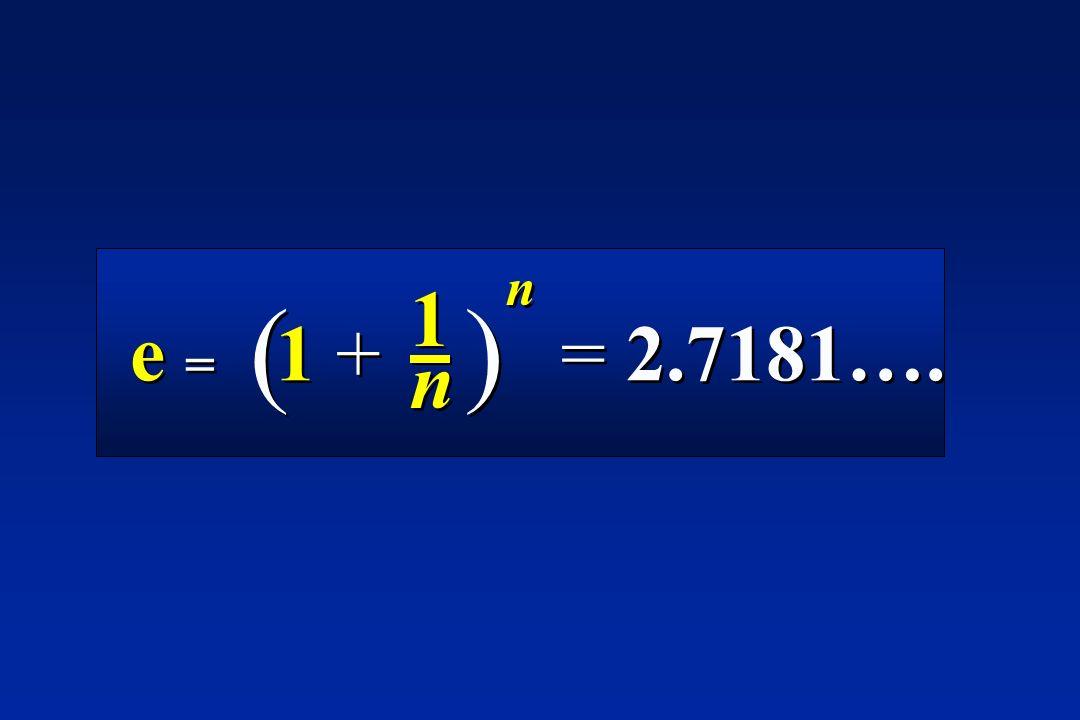 ( ) e = 1 + = 2.7181…. 1 n
