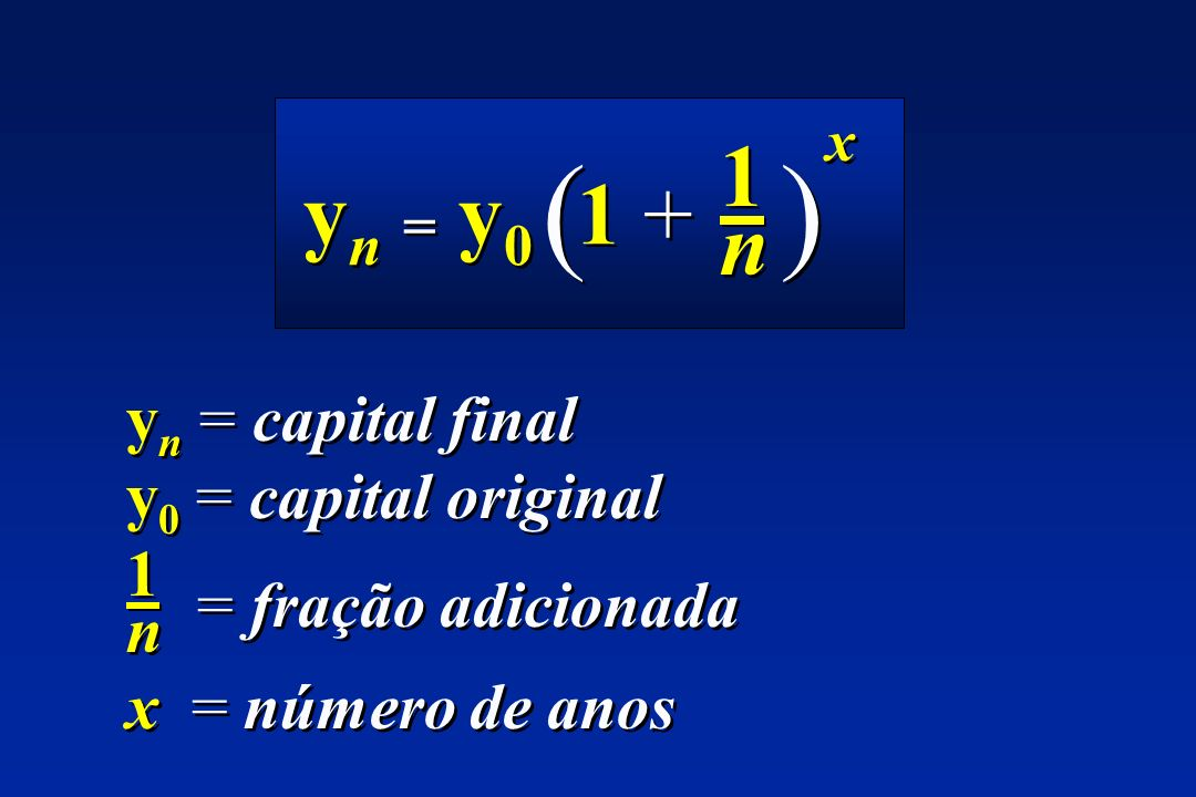( ) 1 yn = y0 1 + n yn = capital final y0 = capital original 1 n