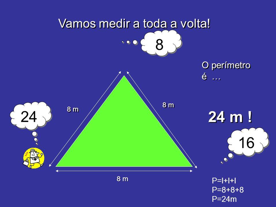 8 24 24 m ! 16 Vamos medir a toda a volta! O perímetro é … P=l+l+l