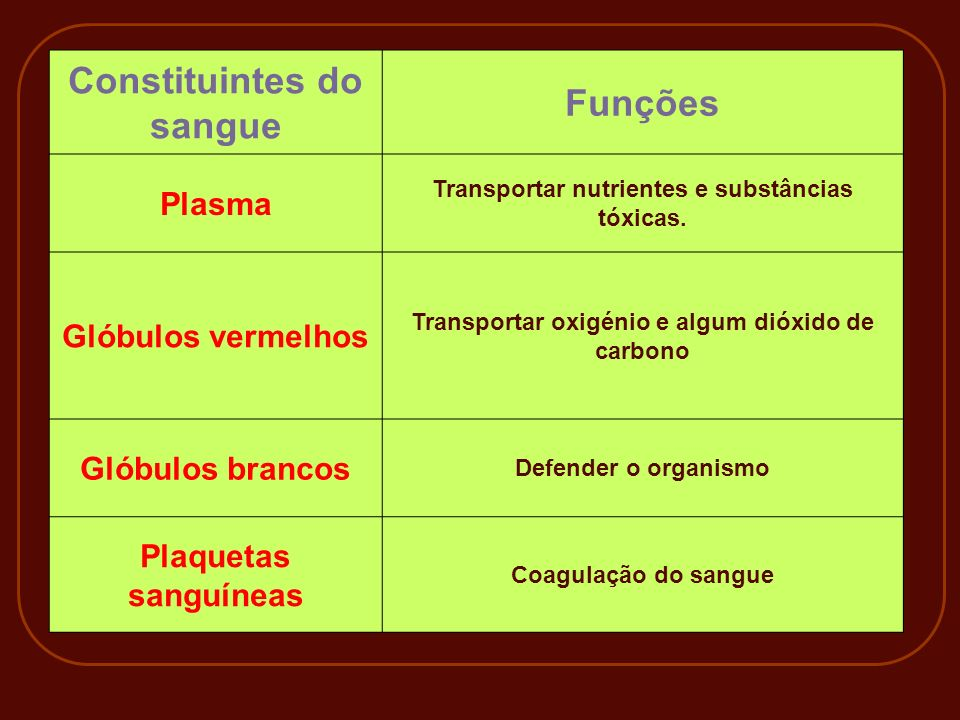 Constituintes do sangue Funções
