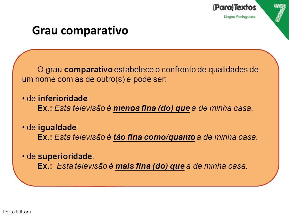 Grau comparativo O grau comparativo estabelece o confronto de qualidades de um nome com as de outro(s) e pode ser: