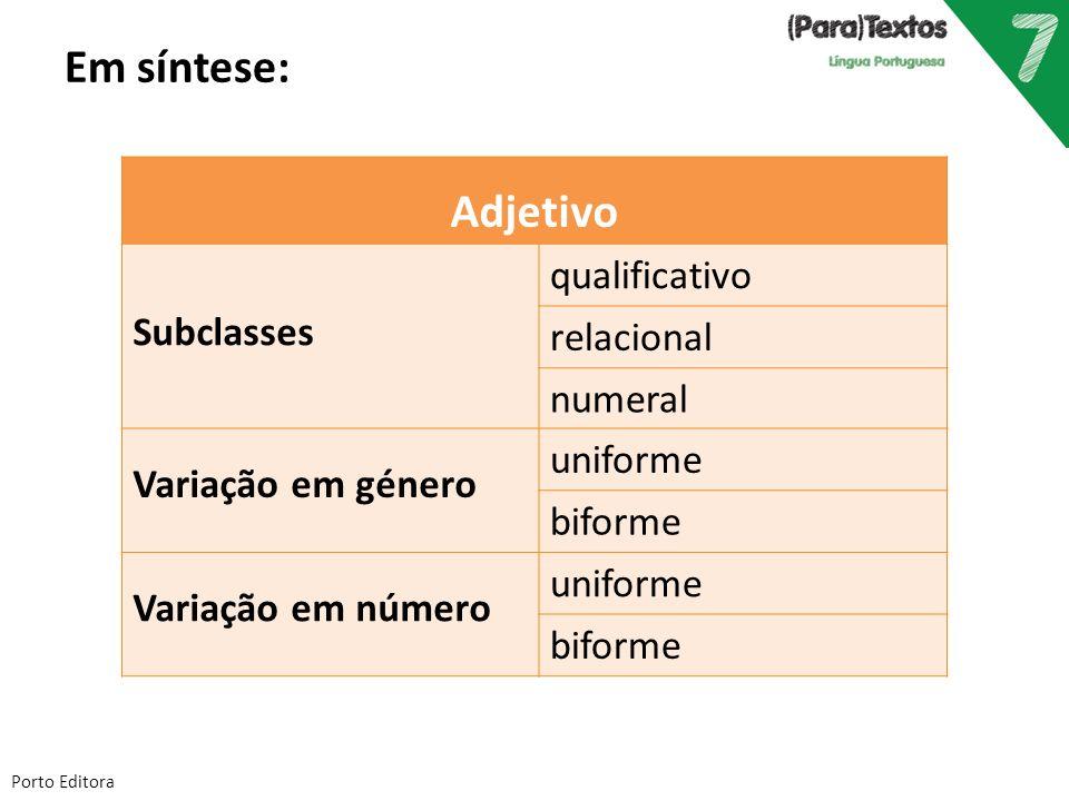 Em síntese: Adjetivo qualificativo relacional Subclasses numeral