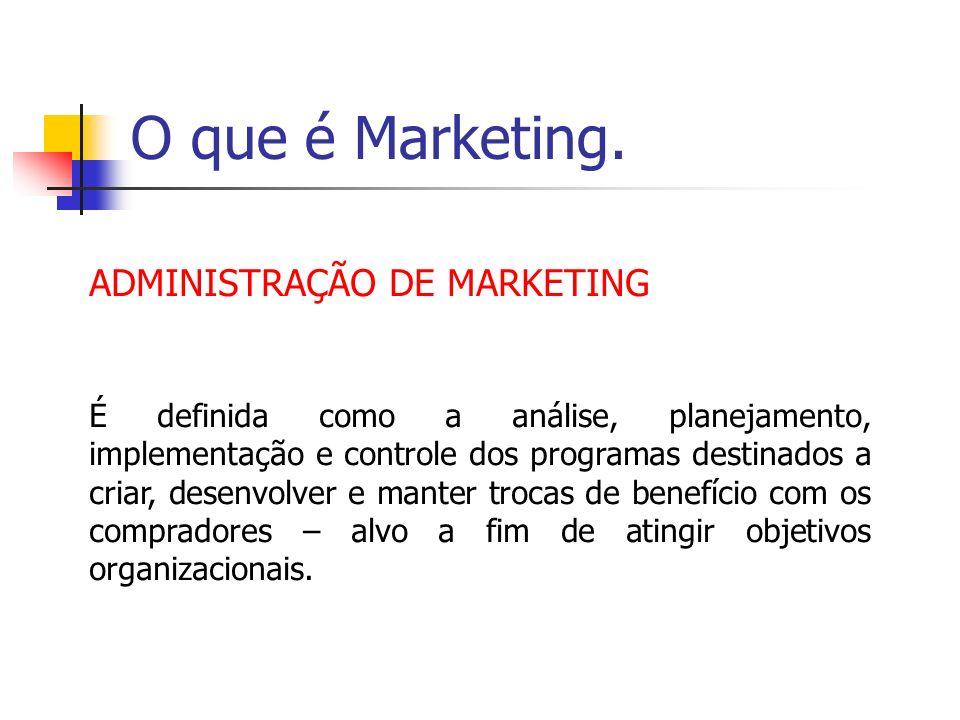 O que é Marketing. ADMINISTRAÇÃO DE MARKETING