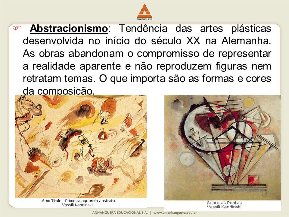 Abstracionismo: Tendência das artes plásticas desenvolvida no início do século XX na Alemanha.