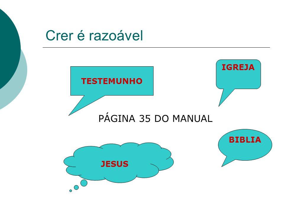 Crer é razoável IGREJA TESTEMUNHO PÁGINA 35 DO MANUAL BIBLIA JESUS