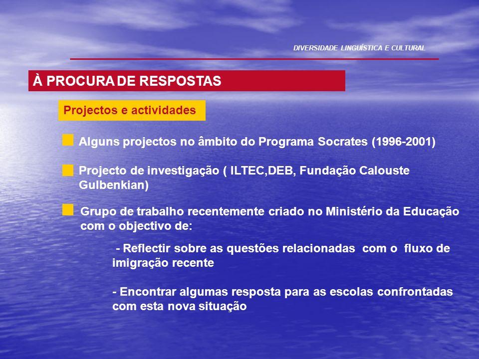 À PROCURA DE RESPOSTAS Projectos e actividades