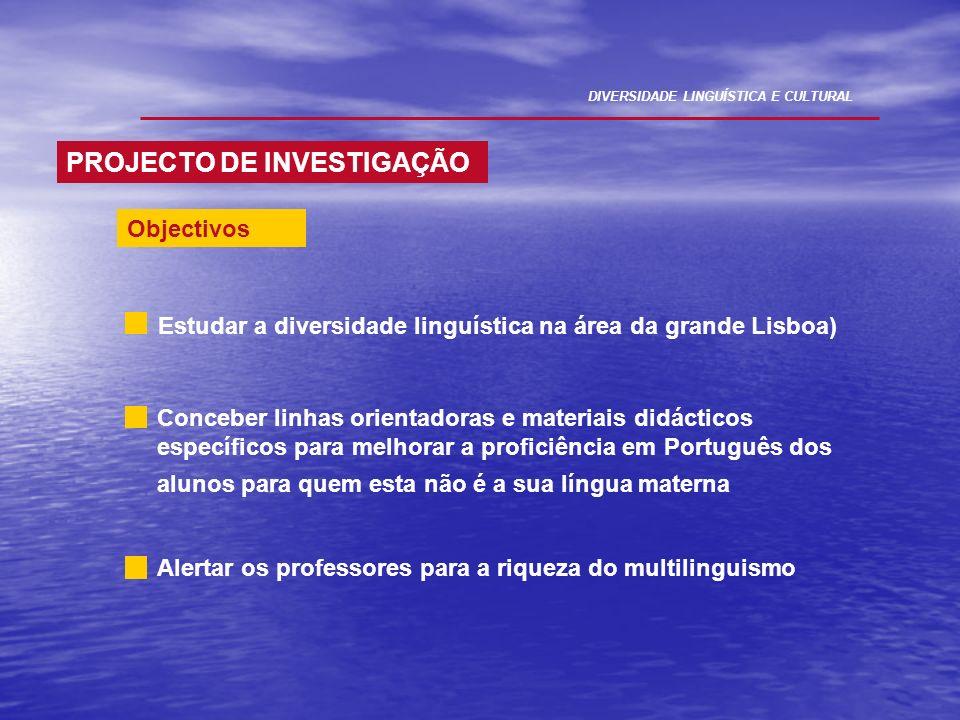 PROJECTO DE INVESTIGAÇÃO