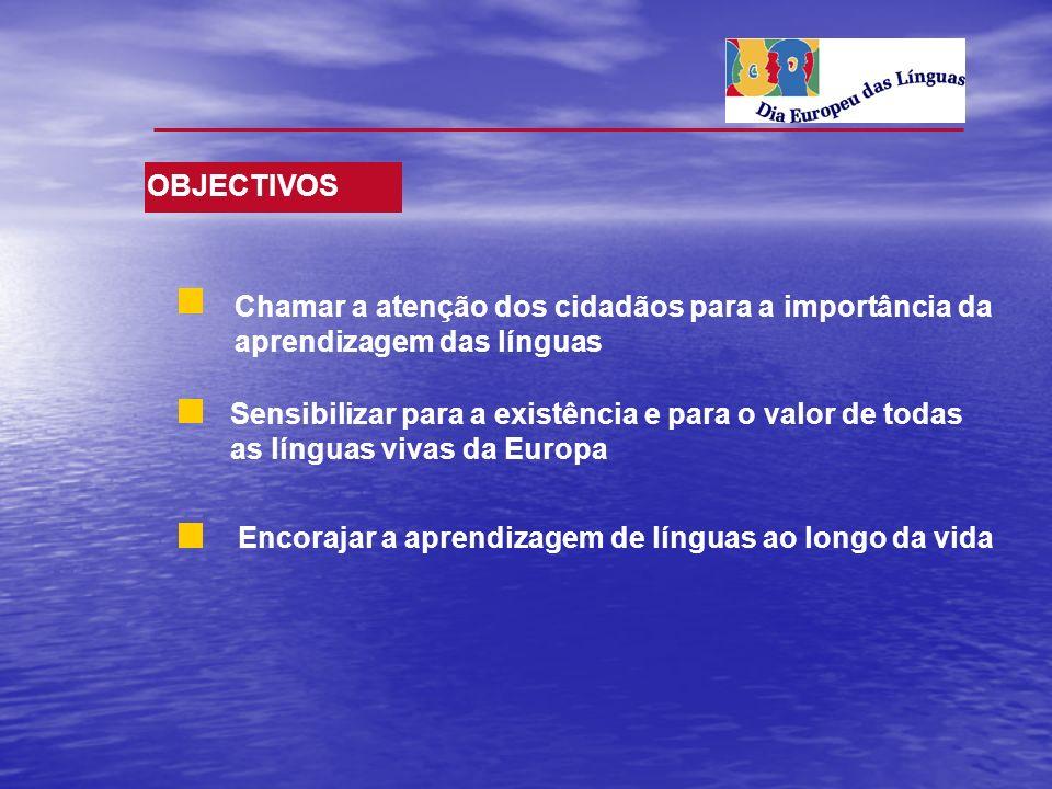 OBJECTIVOS Chamar a atenção dos cidadãos para a importância da aprendizagem das línguas.