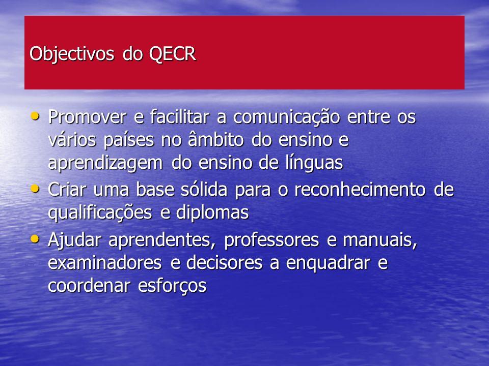 Objectivos do QECR Promover e facilitar a comunicação entre os vários países no âmbito do ensino e aprendizagem do ensino de línguas.