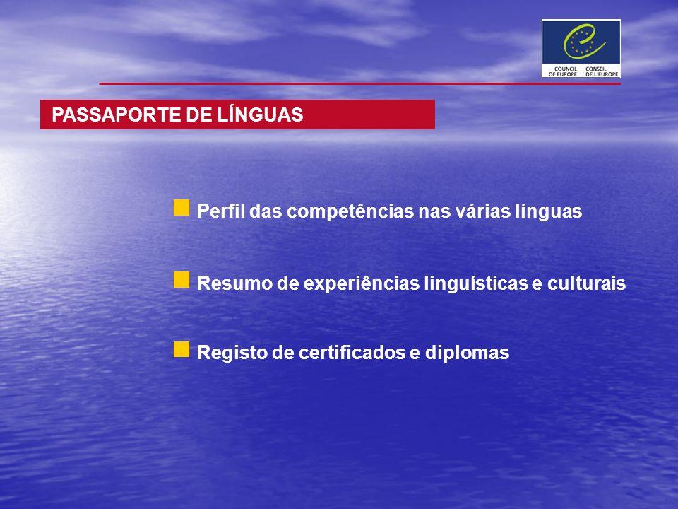 PASSAPORTE DE LÍNGUAS Perfil das competências nas várias línguas. Resumo de experiências linguísticas e culturais.