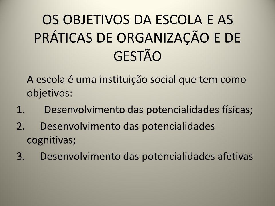 OS OBJETIVOS DA ESCOLA E AS PRÁTICAS DE ORGANIZAÇÃO E DE GESTÃO