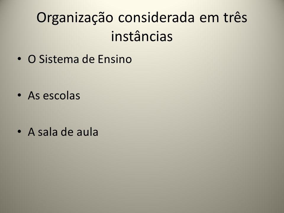 Organização considerada em três instâncias