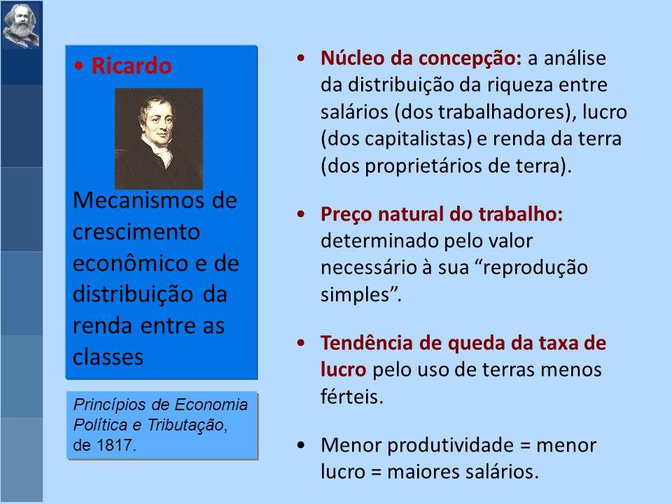 Núcleo da concepção: a análise da distribuição da riqueza entre salários (dos trabalhadores), lucro (dos capitalistas) e renda da terra (dos proprietários de terra).