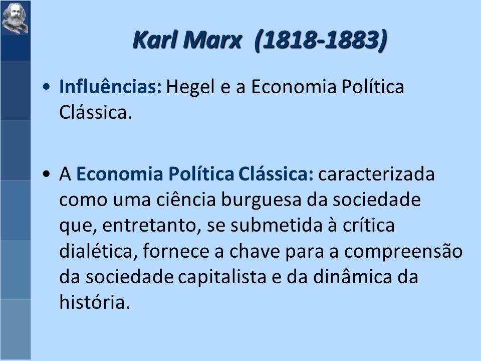 Karl Marx (1818-1883) Influências: Hegel e a Economia Política Clássica.