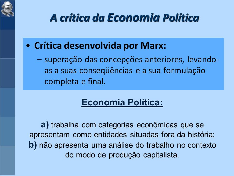 A crítica da Economia Política