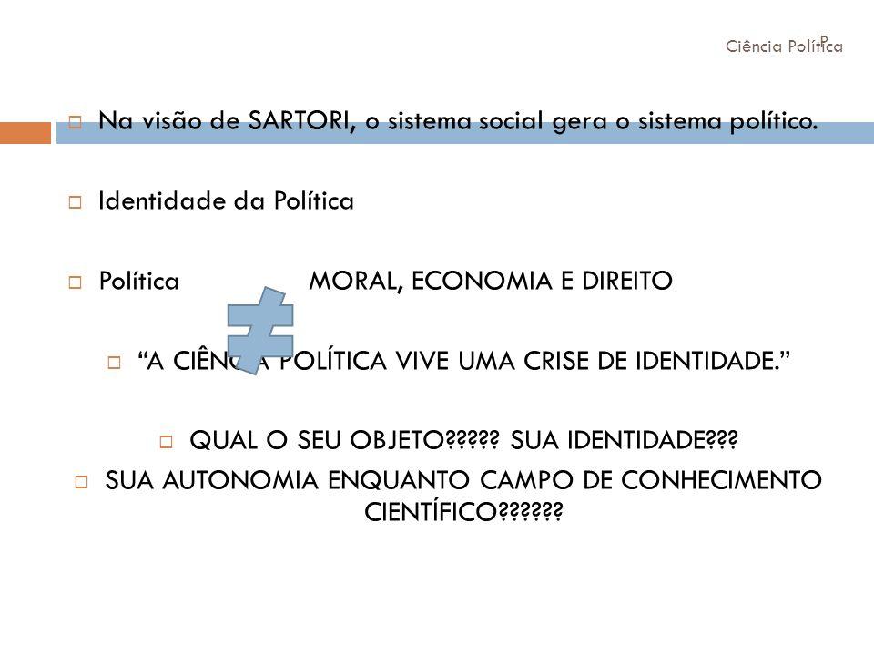 Na visão de SARTORI, o sistema social gera o sistema político.