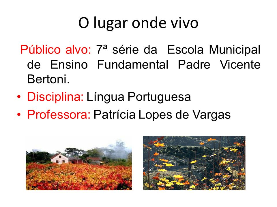 O lugar onde vivo Público alvo: 7ª série da Escola Municipal de Ensino Fundamental Padre Vicente Bertoni.