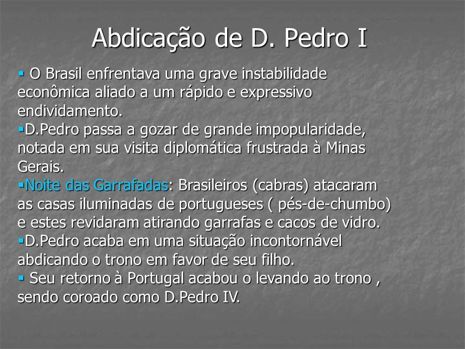 Abdicação de D. Pedro IO Brasil enfrentava uma grave instabilidade econômica aliado a um rápido e expressivo endividamento.