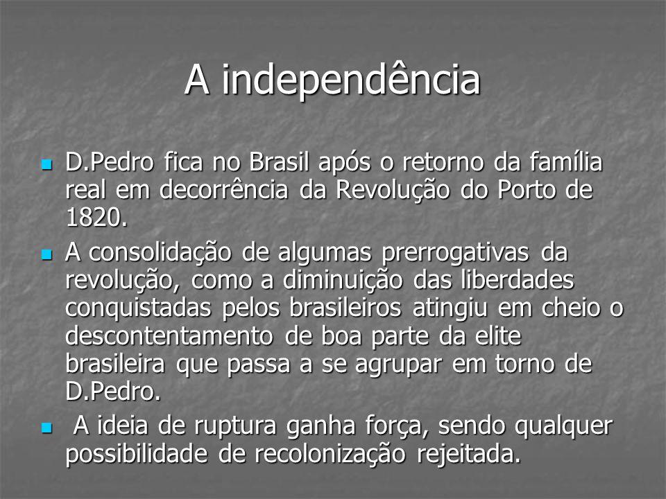 A independênciaD.Pedro fica no Brasil após o retorno da família real em decorrência da Revolução do Porto de 1820.