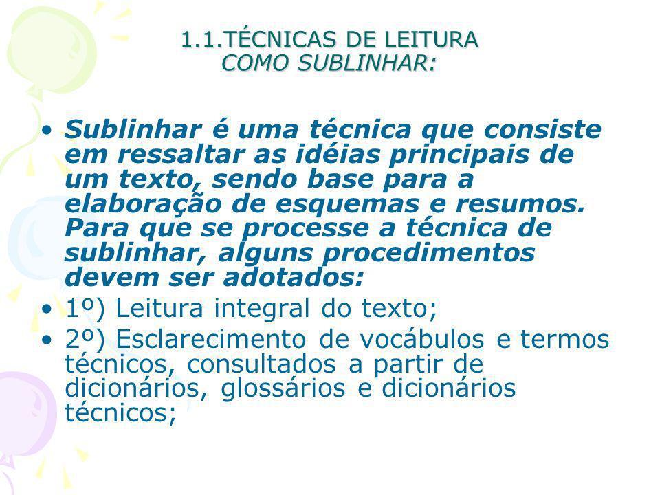 1.1.TÉCNICAS DE LEITURA COMO SUBLINHAR: