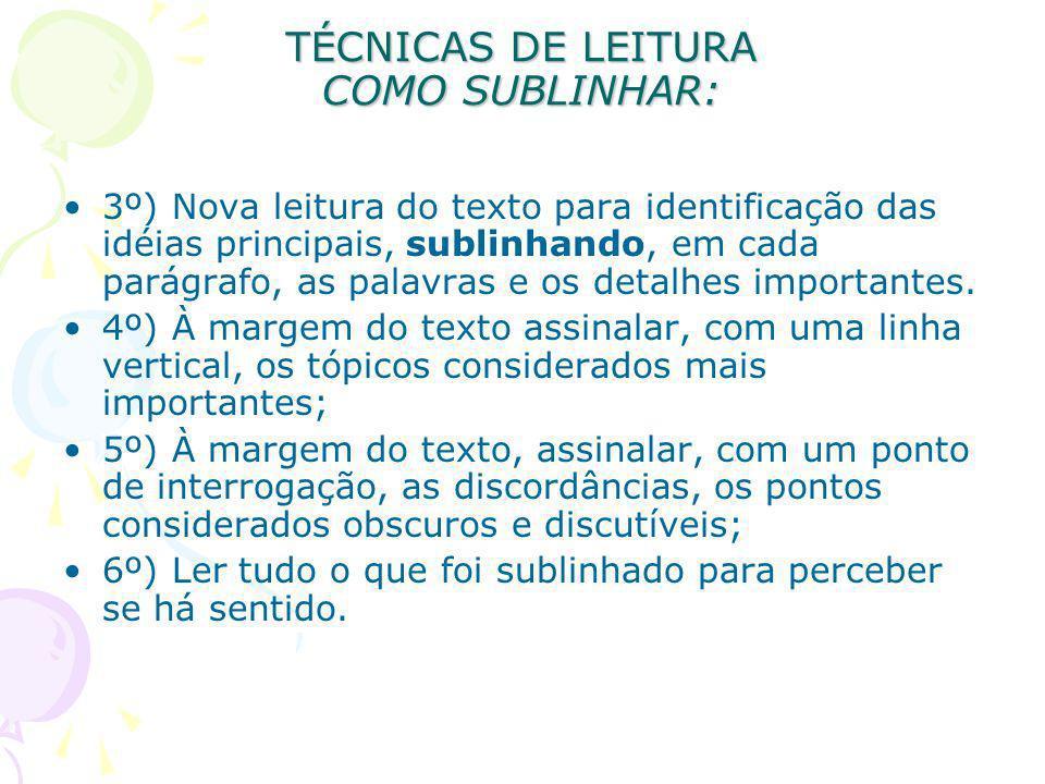 TÉCNICAS DE LEITURA COMO SUBLINHAR: