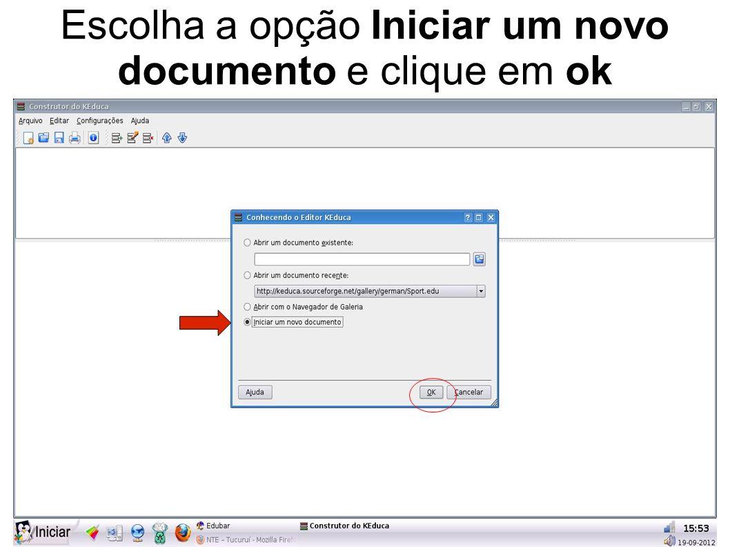 Escolha a opção Iniciar um novo documento e clique em ok