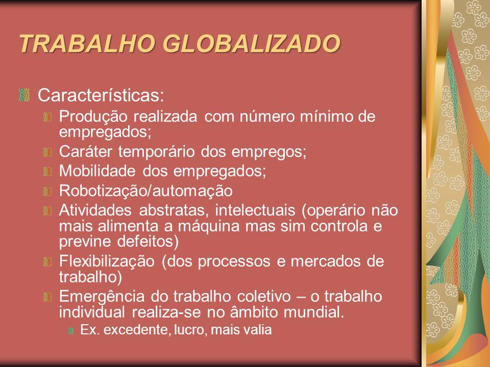 TRABALHO GLOBALIZADO Características: