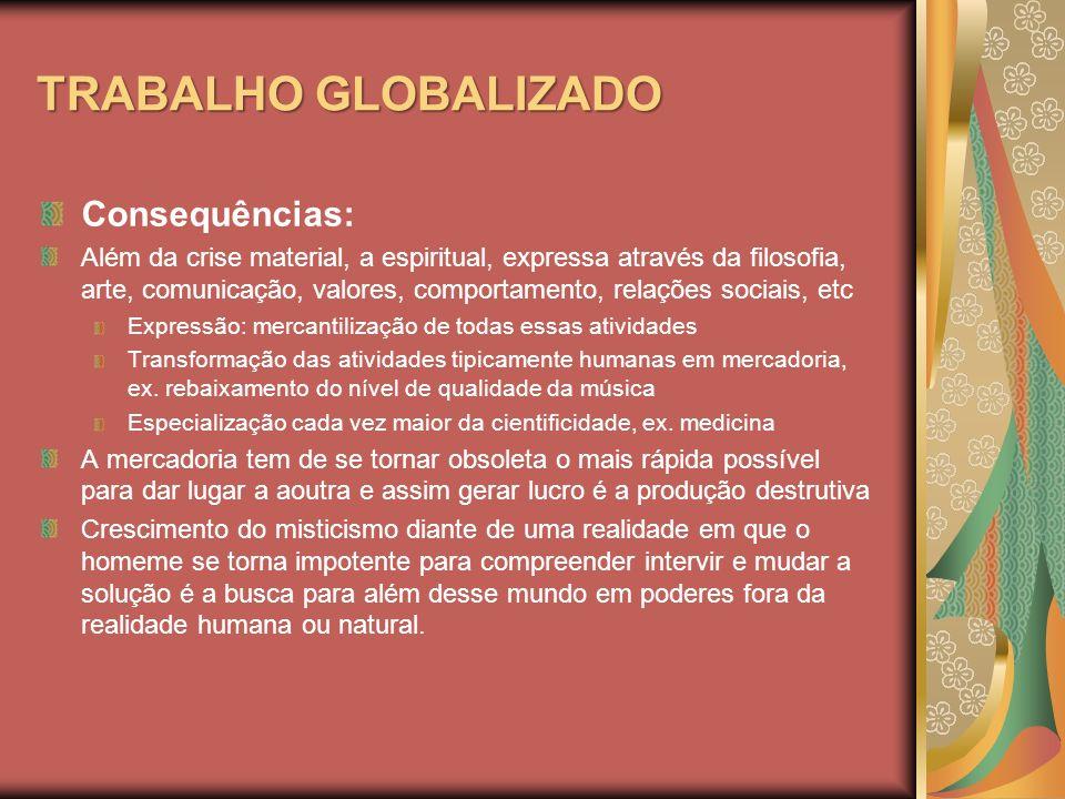 TRABALHO GLOBALIZADO Consequências:
