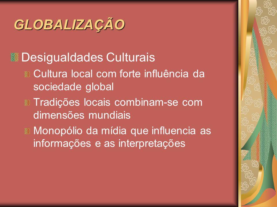 GLOBALIZAÇÃO Desigualdades Culturais