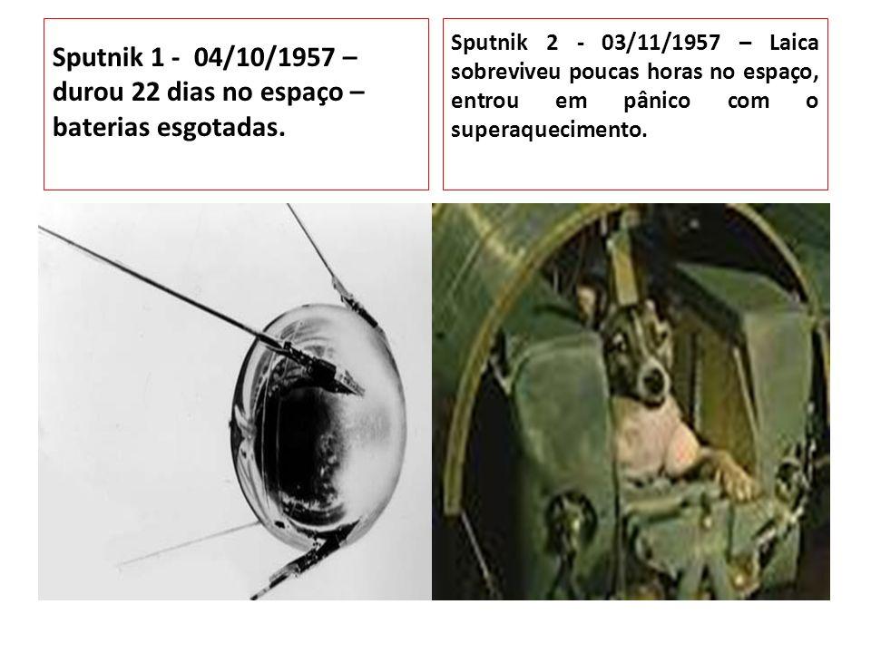 Sputnik 1 - 04/10/1957 – durou 22 dias no espaço – baterias esgotadas.
