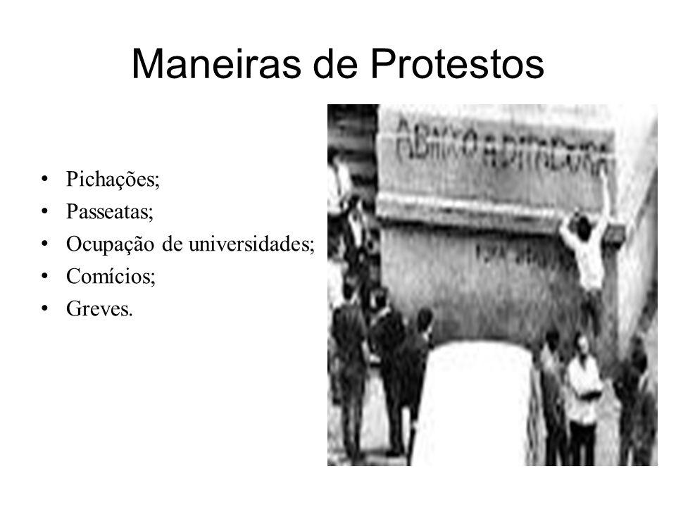 Maneiras de Protestos Pichações; Passeatas; Ocupação de universidades;