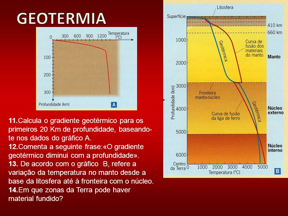 GEOTERMIA 11.Calcula o gradiente geotérmico para os primeiros 20 Km de profundidade, baseando-te nos dados do gráfico A.