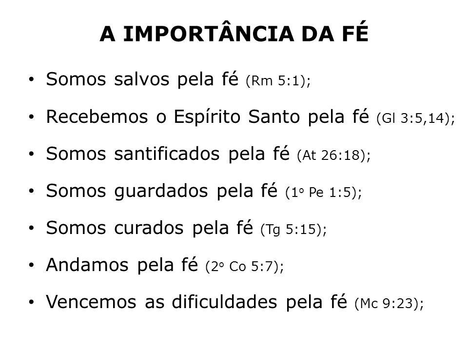 A IMPORTÂNCIA DA FÉ Somos salvos pela fé (Rm 5:1);