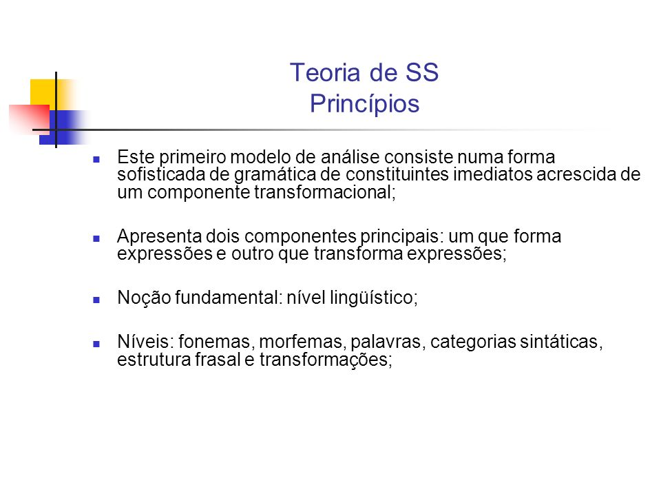 Teoria de SS Princípios